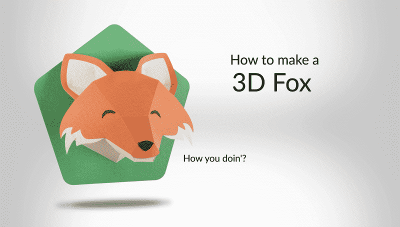 "A 3D fox head made out of brown and green cardstock that is saying, ""How you doin'?"""
