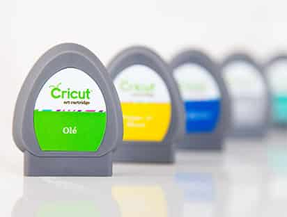 A colorful array of Cricut cartridges.