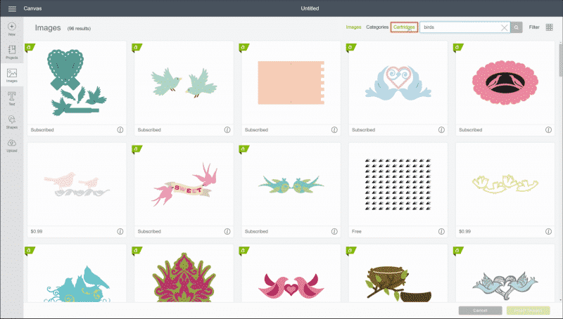 "In Cricut Design Space, ""Cartridges"" is selected in the top right corner."