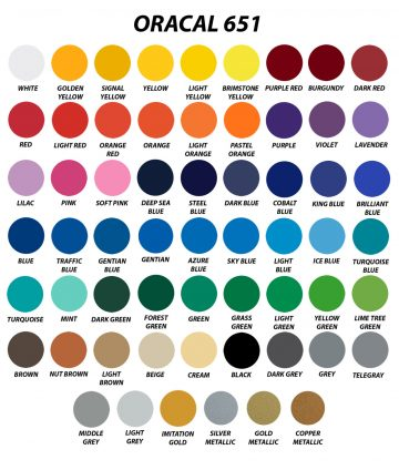 Array of Oracal 651 swatches