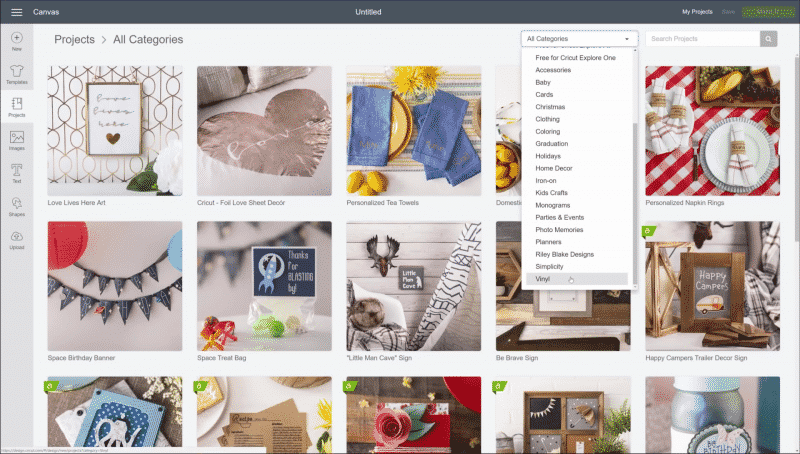 The Cricut Design Space software interface