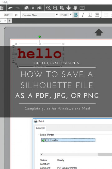 "Pinterest graphic of ""How to Save a Silhouette File as a PDF, JPG, or PNG"""