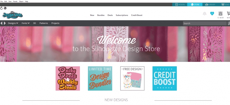 Silhouette Design Store welcome page, featuring new designs