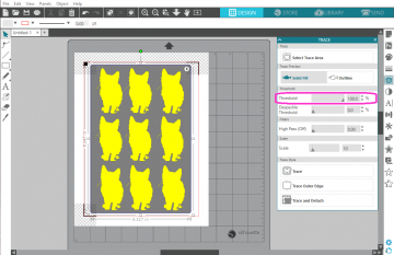 The trace threshold is set to 100% and the cats are all filled in with yellow