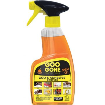 A spray bottle of orange Goo Gone