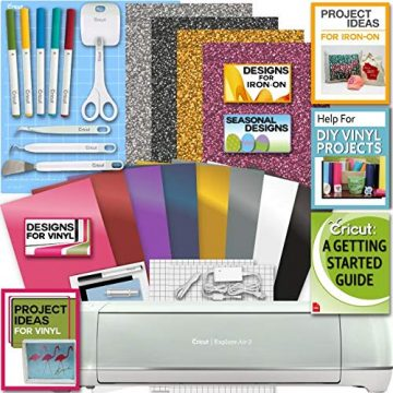 The best bundle for the Explore Air 2 comes with Cricut pens, 12 sheets of vinyl, a basic tool set, and helpful digital designs and guides.