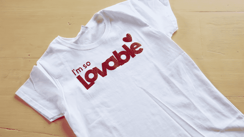 This t-shirt was made with Cricut glitter iron-on vinyl.