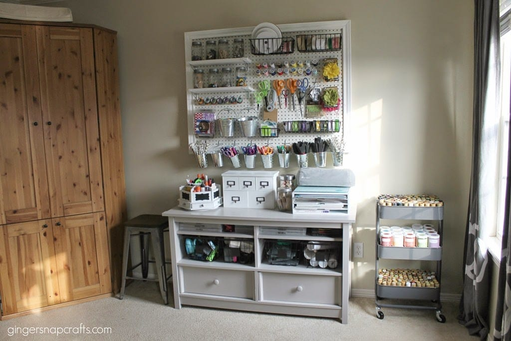 Amazing pegboard organization and hidden craft storage