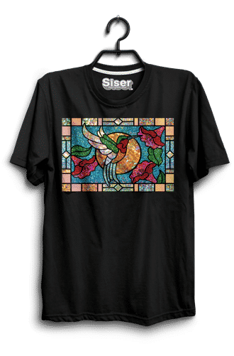 A stained glass heat press shirt