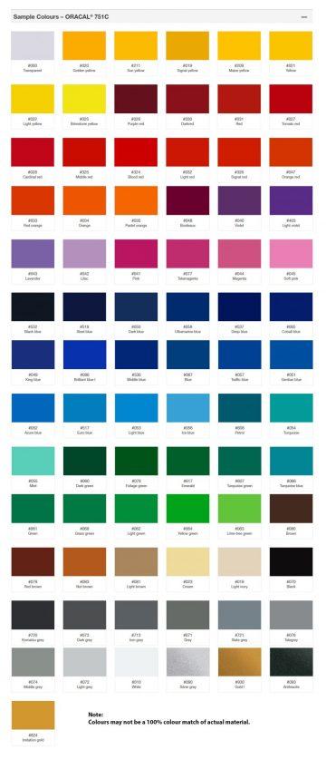 Oracal 751 vinyl color swatch