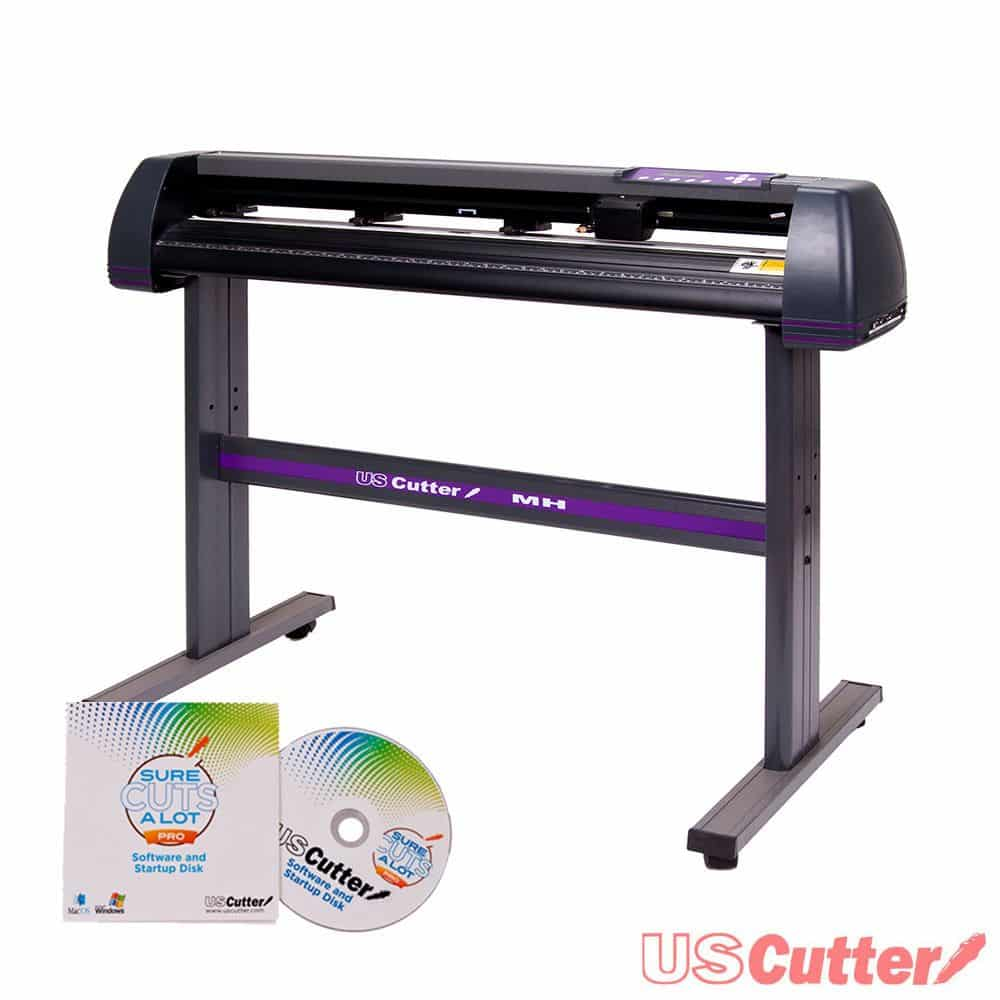 The USCutter MH is 34 inches wide and is installed on its own stand, with purple accents.