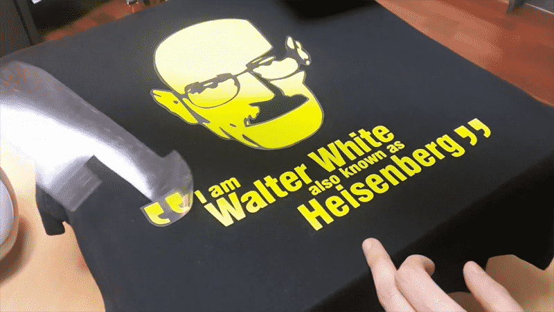 Peeling the heat press shirt design